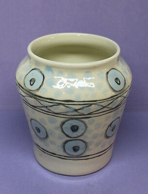 Handmade Ceramic Vase - Tribal Design - Signed by Burke '92 - USA