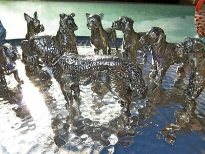 8 Sterling Silver Hunting Domestic Dog Canine Figurine Handmade Old Hunt Rare Nr