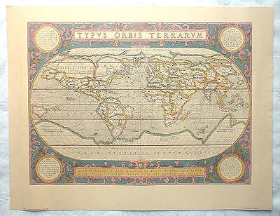 World Map By Abraham Ortelius, 1590: A2+ Size Penn Prints (New York) Reproduct'n