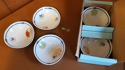 Set Of 5 Vintage Handmade Japanese Footed Soup Bowls