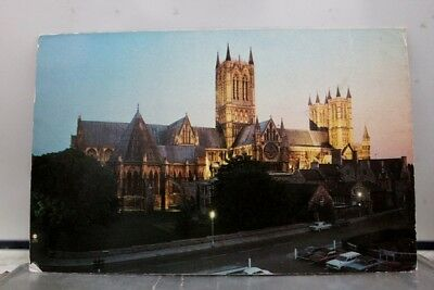 United Kingdom Lincoln Cathedral Floodlight Postcard Old Vintage Card View Post