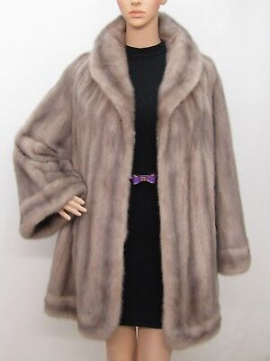 Real Mink Fur Silver Grey Lavender Jacket Coat 6-8-10-12-14Uk/l-Xl Nerz Visone