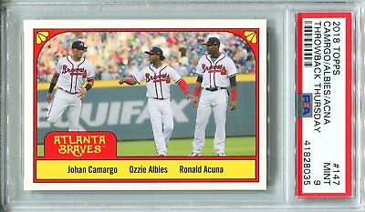 2018 Topps Throwback Thursday 147 ~ TBT Braves ROOKIE Ronald Acuna Albies PSA 9