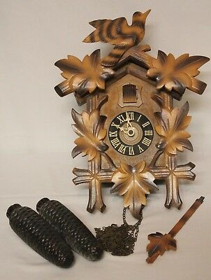 GERMAN MADE Antique Vintage Black Forest German Cuckoo Clock for Parts / Restore