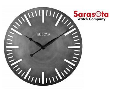 """Bulova ARC C4869 Gray Dial Antique Finish Curved Metal Case 24"""" Round Wall Clock"""