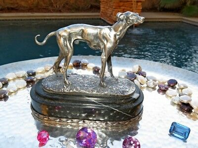 SILVER HUNTING DOG CANINE FIGURINE STATUE ONYX HANDMADE RUSSIAN 84 OLD sterling