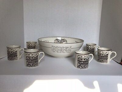 Vintage Tom & Jerry Wassail/Punch Bowl w/ 6 Cups by Gray's Pottery England