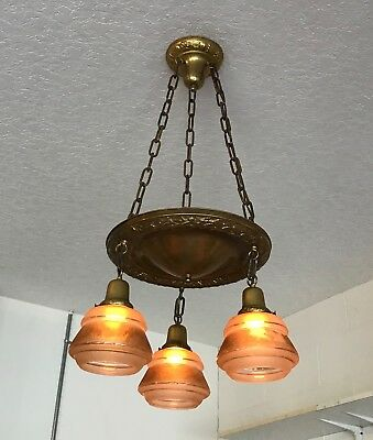 Antique vintage hanging chandelier light ceiling fixture unique art glass shades