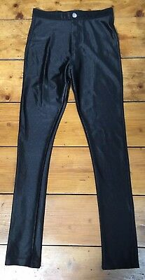 River Island Girls Black High Waisted Disco Pants Skinny Trouser Age 9-10 Party