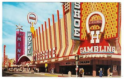 FREMONT STREET **Vintage view from 1960's Las Vegas hotel -casino post card#D13