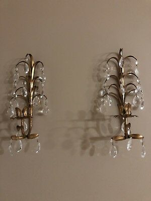 Vtg Hollywood Regency Gold Gilt Tole Wall Candle Holder Sconce With 14 Prisms