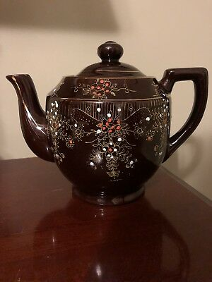 Vintage Redware Brown Tea Pot With Moriage Enameled Flowers-Made In Japan