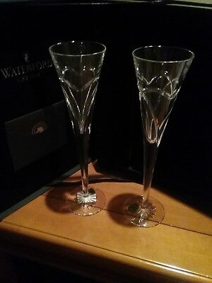 Waterford Crystal Wishes Flute Love & Romance Pair NIB p150
