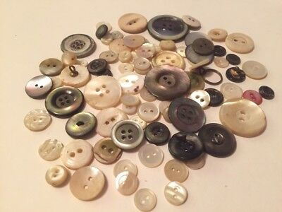 Assorted Vintage (1970's-90's) Job Lot of Mother of Pearl Buttons