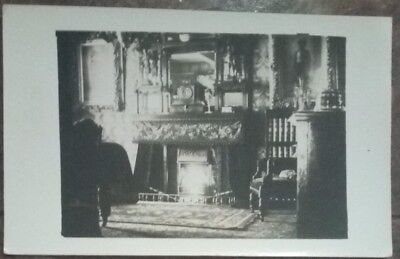 MARTHOLME House Interior Fireplace Antiques Lancashire Real Photo PC c1920s