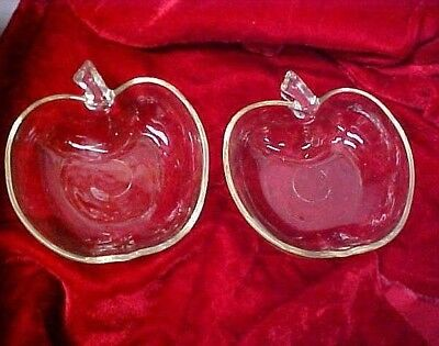 Vintage Clear Glass Apple Shaped Dessert Bowl Deep Dish Set of 2 VGC
