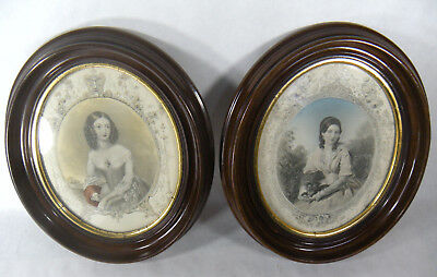 Antique Victorian Oval Walnut Picture Frames Lady With Dog & another With Red