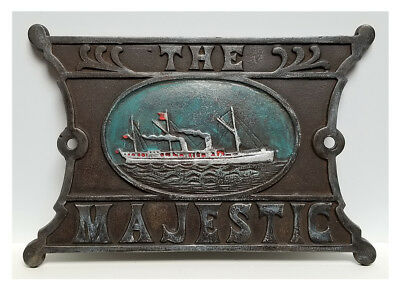 Antique Cast Iron THE MAJESTIC White Star Line Steamship Plaque / Sign