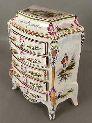 Antique 18thC French, Marseilles Faience Pottery, Miniature Chest, Jewelry Box