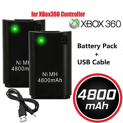 4800mAh Rechargeable Battery USB Charger Cable Pack for Xbox360 Controller UK