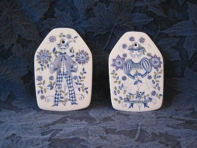 Two Vintage Lotte Small Wall Plaques / Trivets by Figgjo of Norway