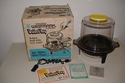 Vintage West Bend WESTMARK Butter-Top Pop Corn Popper # 11864 4 Qt. See-Thru Top