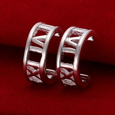 Hot 925Sterling Solid Silver Jewelry Roman Circle Stud Earrings For Women E046
