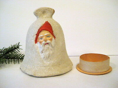 Vintage German Composition Bell With Santa Face Candy Container; Great!