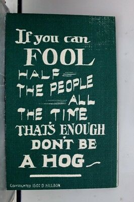 Comic Cartoon Fool Half the People Don't Be a Hog Postcard Old Vintage Card View