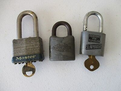 3 vintage Padlocks Master #21 Slaymaker Illinois Lock co w/ 2 keys