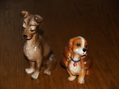 Vintage Walt Disney LADY and the TRAMP Dog Figurines Ceramic Made in Japan