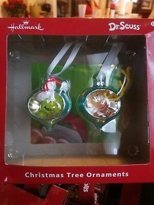 2016 Hallmark DR SEUSS THE GRINCH  and Max with antler Ornament New in Box
