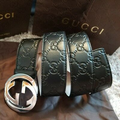 0e6dcdb48 Authentic Gucci Belt Black Guccissima Print with Silver Buckle fits ...