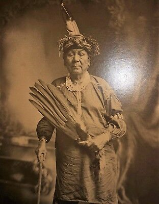 "Large ca.1900 NATIVE AMERICAN PHOTOGRAPH 16 1/2"" X 13 1/2"" INDIAN"