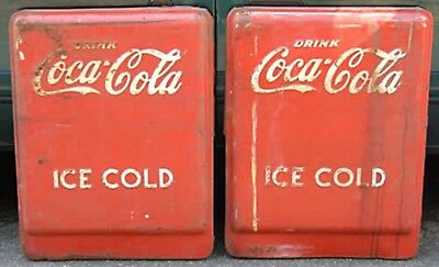 4 Vintage Coca Cola Panels from Giant Store Chest Cooler Embossed Parts Display