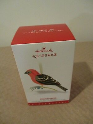 HALLMARK Keepsake ORNAMENT 2016 PINE GROSBEAK # 12 IN BEAUTY OF BIRDS SERIES