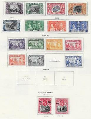 17 St. Helena Stamps w/War Tax from Quality Old Antique Album 1916-1940