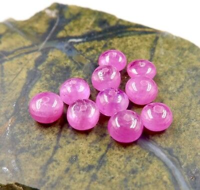 10 RARE VERY LARGE BURMESE AAAA+ BRIGHT PINK RED RUBY 4.3-4.6mm BEADS 7.3 cts
