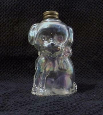 Vintage Irridescent Glass Dog Candy Container-All Original-Look!