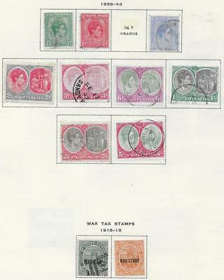11 St. Kitts and Nevis Stamps w/War Tax from Quality Old Antique Album 1916-1943
