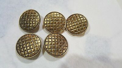 Lot of 5 Vintage Large Metal Patchwork Design Buttons Sewing Crafts Gold Tone