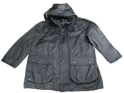 BARBOUR BORDER Mens Classic Utility Jacket Navy Blue Size XL XXL Waxed and Hood