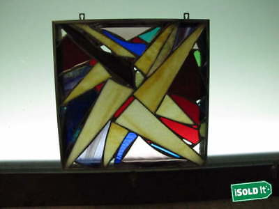 """MOSAIC ABSTRACT STAINED ART GLASS FRAMED WINDOW HANGING DISPLAY 12.25""""x12.25"""""""
