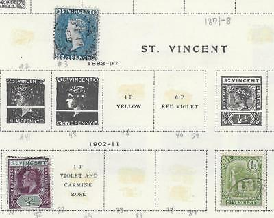 3 St. Vincent Stamps from Quality Old Antique Album 1883-1911