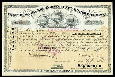 1880 Columbus Chicago and Indiana Central RWY (PCC&StL RR) Stock Certificate VF
