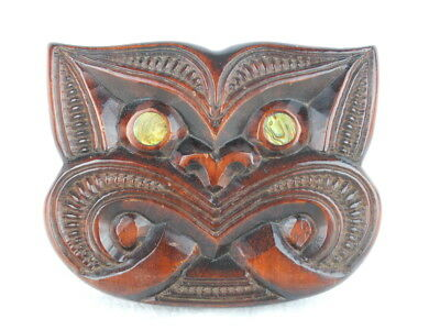 Mask MAORI New Zealand Fearsome Creature Mother of Pearl Eyes Wood Carving