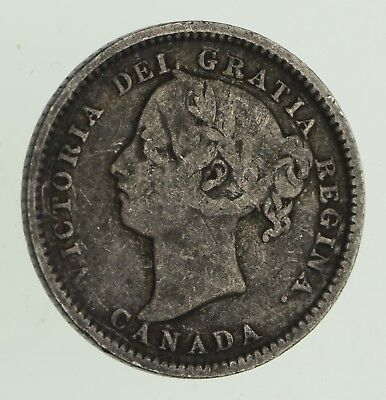 Roughly Size of Dime - 1898 Canada 10 Cents - World Silver Coin *602