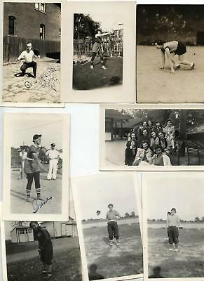 Lot of 8 Vintage Womans Sports photos including newspaper ads