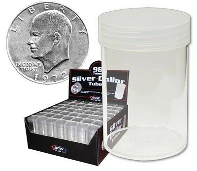 (3) Bcw Large Dollar Clear Plastic Round Tube Coin Storage Display Holders