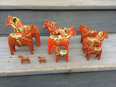 Antique Swedish Dala  HORSES hand made  a collection of ten !